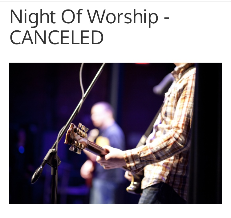 Night of Worship is Postponed